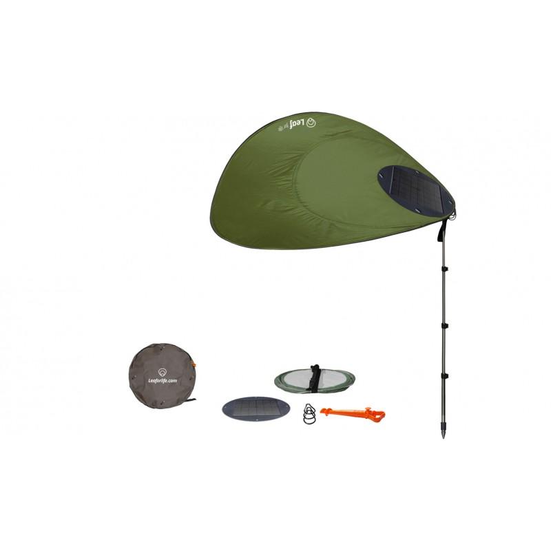 Voile d'ombrage Sun Leaf : parasol nomade avec panneau solaire intégré